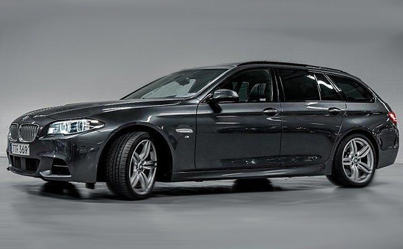 Grå metallic BMW 550I Touring med M-sport paket stulen i Strängnäs